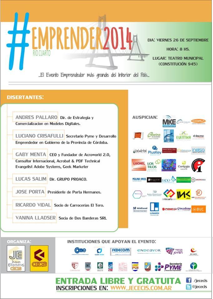 DISERTANTES EMPRENDER RIO CUARTO 2014, Jovenes Empresarios CECIS Río Cuarto, rio cuarto